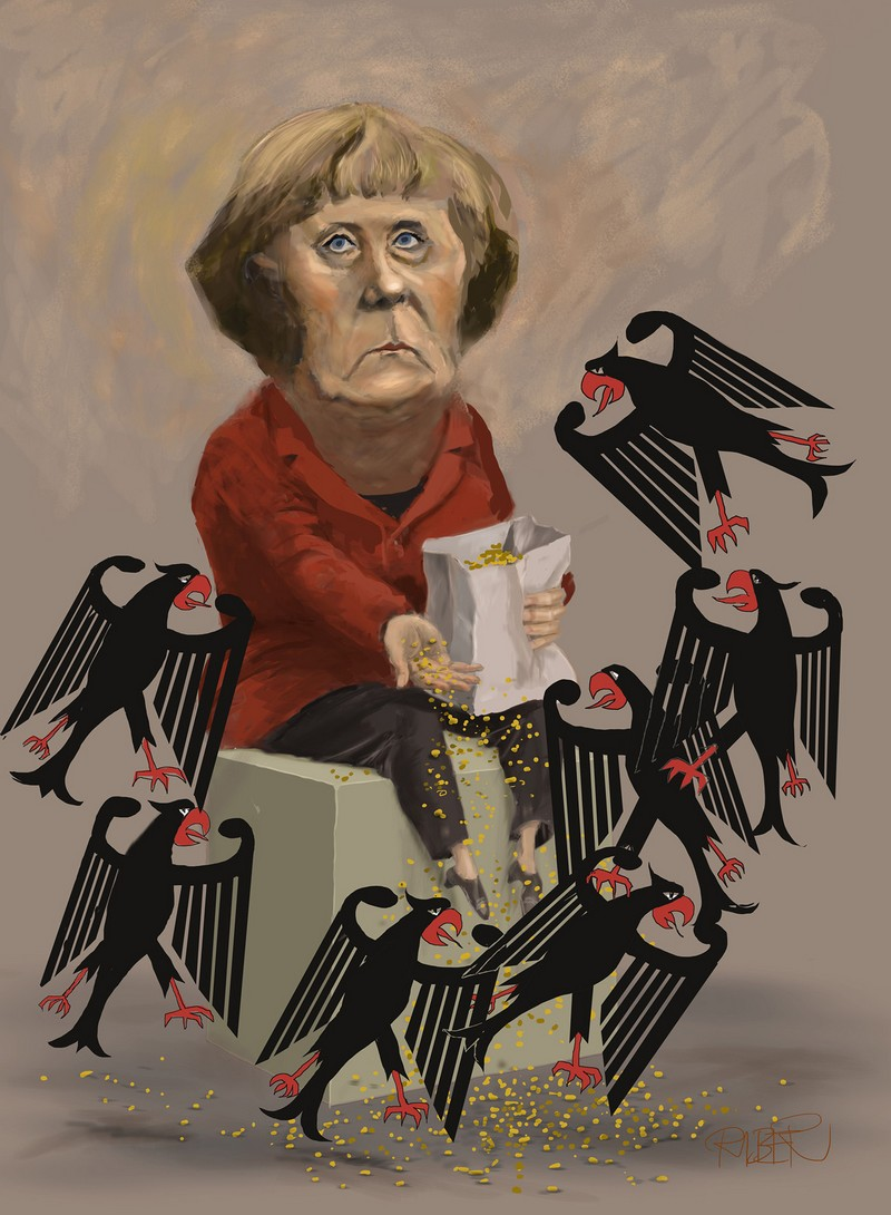 Merkel feeding German eagles
