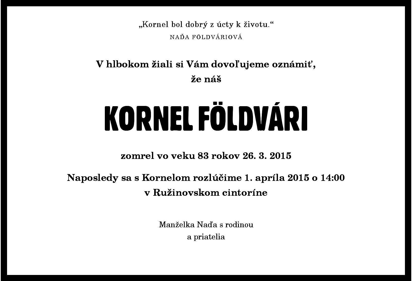 Smutocne oznamenie - Kornel Foldvári