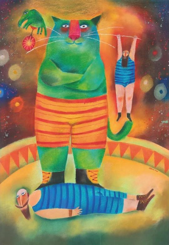 Adolf Born-Senzacni artisticke cislo s kocourem 2001